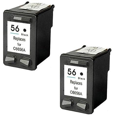 Prestige Cartridge HP 56cartouches d'encre Compatible pour imprimante Hp PhotoSmart/DeskJet/OfficeJet série, 2pièces, noir