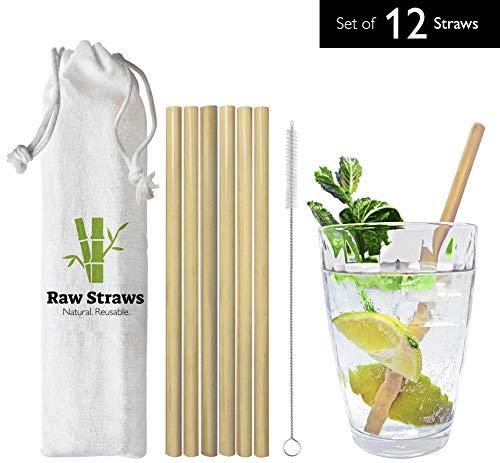 12 pajitas de bambú para beber reutilizables y naturales: 100% biodegradable, respetuoso con el medio ambiente y duradero (Incluye cepillo de limpieza) por pajuelas sin procesar