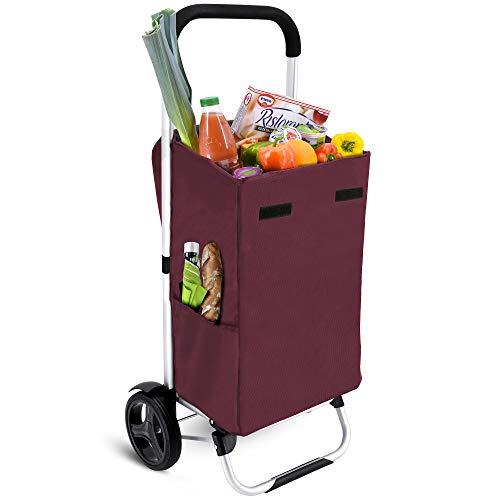 MACORA Einkaufstrolley groß in rot 36L mit Seitentaschen - Einkaufswagen klappbar mit wasserabweisender & abnehmbarer Tasche