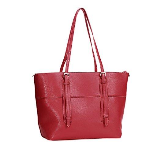 Due Signore moda colore solido Tote (colori assortiti)-rosa Rosso