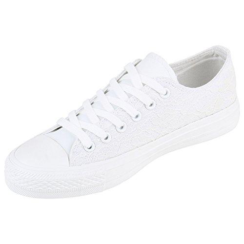 Damen Sneakers Sportschuhe | Sneaker Low Denim | Stoffschuhe Blumen Camouflage Weiss Weiss Spitze