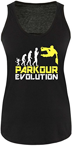 EZYshirt® Parkour Evolution Damen Tanktop Schwarz/Weiß/Gelb