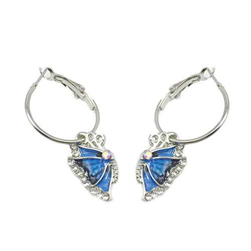 F-blue Schmetterling Strass-Legierung Ohrring-Ohr-Klipp-Frauen-Mädchen Weiblicher Schmuck Accessoires Geburtstags-Geschenk