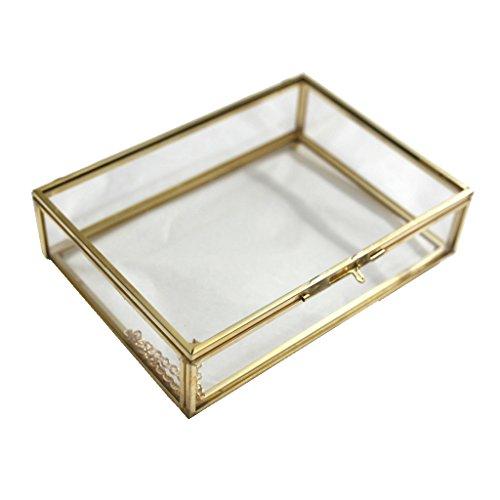 Sharplace Geometrisches Glasterrarium Rechteck Form - Kupfer, 16,5 x 12 x 4 cm