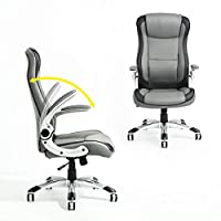 La Vane Computer Chair, Ergonomic PU Leather Swivel Executive Office Chair, High Back, Adjustable Height, Flip-up Armrest for Study Room Home Office