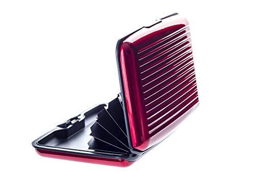 VALLET® Kreditkartenetui aus Aluminium - für Damen und Herren - blockiert RFID und NFC - für Kreditkarten Personalausweis EC-Karten - Kartenetui Kartenhülle Karten Portemonnaie Etuis - rot