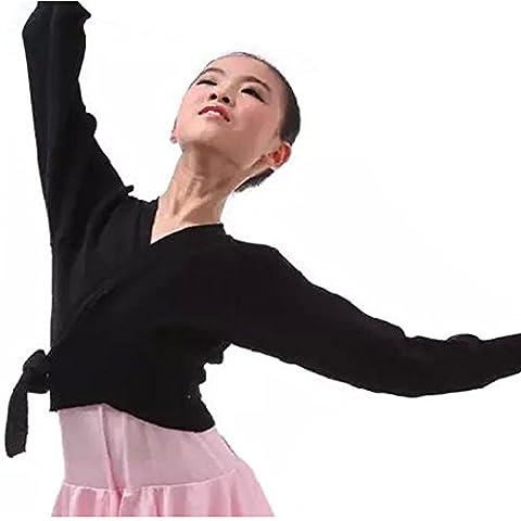 YiZYiF Kinder Ballett Wickeljacke praktische, wärmende Ballettjacke für das Ballett Training 98-152 Schwarz 122-128 (Herstellergröße:150)