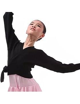 YiZYiF Kinder Ballett Wickeljacke praktische, Schulterjacke Ballettjacke Jacke in Rosa, Schwarz, Rot