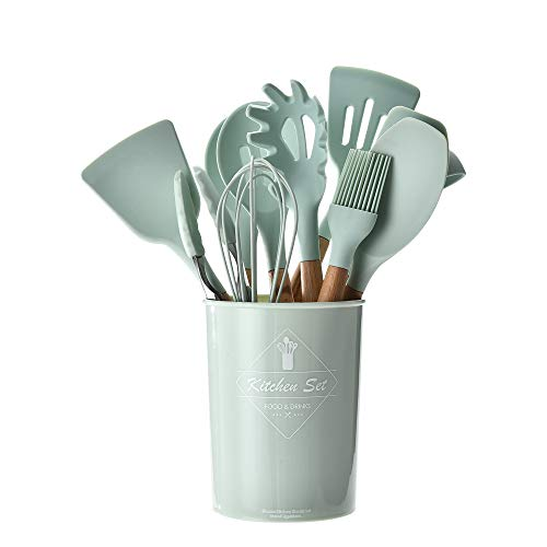 HENSHOW Küchenhelfer Set Silikon, 12-teilig Küchenutensilien Mit Utensilienhalter - Antihaft-Anti-Kratz-Kochgeschirr Küchenhelfer mit Holzgriff (Grüne Farbe)
