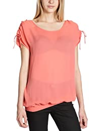 Custommade - Blusa regular fit con cuello redondo de manga corta para mujer, talla 40, color Coral