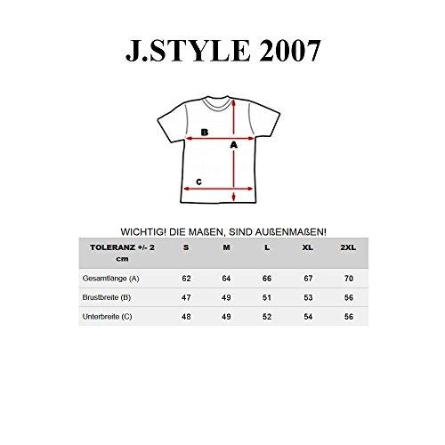 BOLF T-Shirt Herren Unifarben Classic Kurzarm Party Slim V-Neck J. STYLE 2007 Weiß