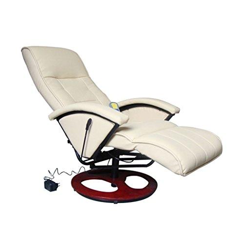 vidaXL Massagesessel mit Heizfunktion beige