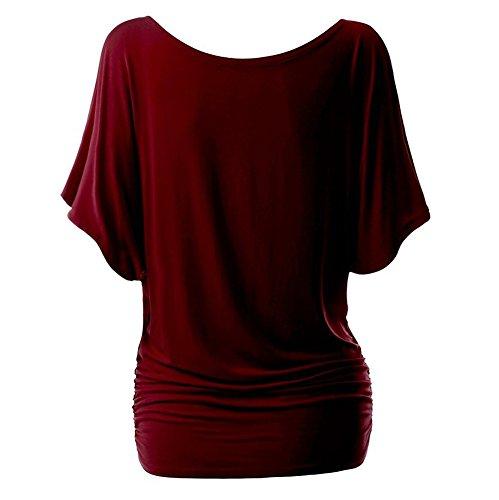iBaste Damen Oberteil Festlich T-Shirts Bluse Elegant Shirt Kurzarm Große  Größen Wein(Schulterfrei 449f78a1bf