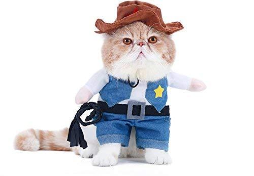WORDERFUL Cowboy Hund mit Hut Kostüm Hund Kleidung Anzug Halloween Kostüme für Katze und Puppy, L, Blau (Hunde Mit Halloween Kostümen Auf)