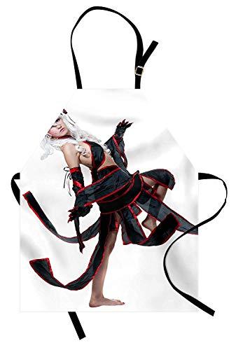 Anime Schürze, posiert Krieger Mädchen in Manga-Stil japanische Kultur unter dem Motto Illustration Kunst, Unisex-Küche Latzschürze mit verstellbarem Hals zum Kochen Backen Gartenarbeit, rot weiß ()