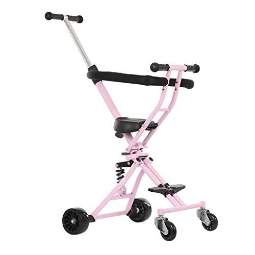 Baby carriage 4,7 kg High View Kinderwagen mit Anti-Shock-Federn Leichtes Zusammenklappbares 4-Rad-Reise-Joggersystem, Schwarz/Pink/Blau (für Mädchen und Jungen von 1 bis 6 Jahren)