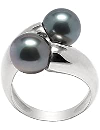 Pearls and Colors Solitär-Ring Sterling-Silber 925 Süßwasser-Eternity, Tahiti-Zuchtperle, PC-BAMT2