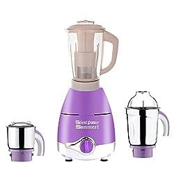 Silent Power Sunmeet Lavender Color 750Watts Mixer Juicer Grinder with 3 Jar (1 Ivory Juicer Jar with filter, 1 Medium Jar and 1 Chuntey Jar)