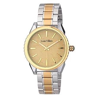 Louis-Villiers-Unisex-Analog-Quarz-Uhr-mit-Edelstahl-Armband-LV2066