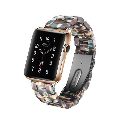 MTSBW Für Iwatch Band, Mode Harz Apple Watch Band Ersatz Erbaut In Edelstahl Schnalle Mit Link Pins Für Serie 4 3 2 1,42Mm