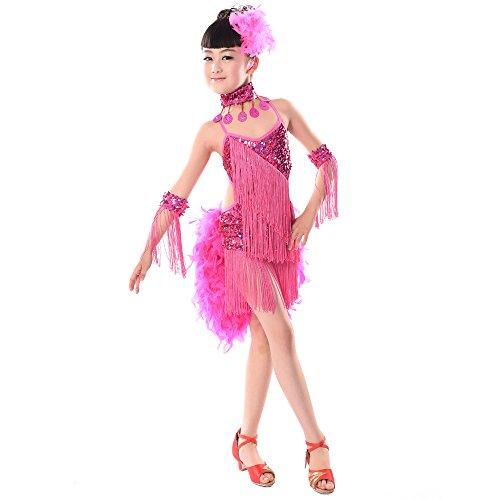 KINDOYO Mädchen Pailletten Feder Quaste Latin Ballroom Salsa Tanzkleid Rock Tango Dance Performance Kostüm, Rosa, EU 150=Tag160CM (Latin Ballroom Dance Kostüm)