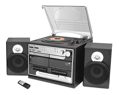PYLE-HOME Bluetooth Classic Style Record Player Turntable with Vinyl to MP3 Recording, Dual Cassette Deck and CD Player