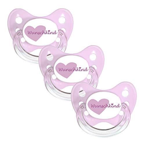 Dentistar® Silikon Schnuller 3er Set - Beruhigungssauger, Nuckel Größe 1 von Geburt an, 0-6 Monate - zahnfreundlich & kiefergerecht | Rosa Wunschkind (1400 Tasche)