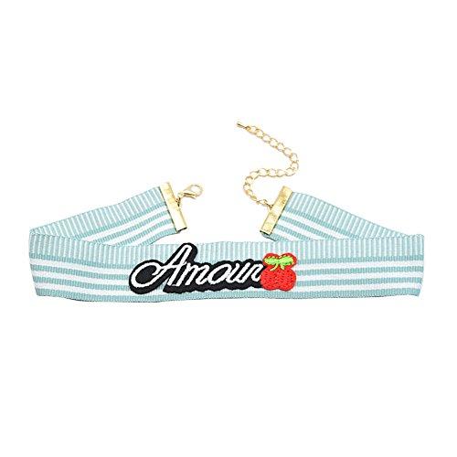 Gudeke Mode Streifen Choker Halskette Stickerei Buchstaben Kirsche Anhänger (3) (Streifen-kragen Charmante)