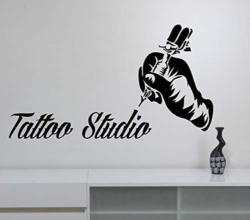 Tattoo Studio Logo Vinyl Aufkleber Tattoo Maschine Wandtattoo Fenster Kunst Ornament Tattoo Studio Ornament 42 * 75cm