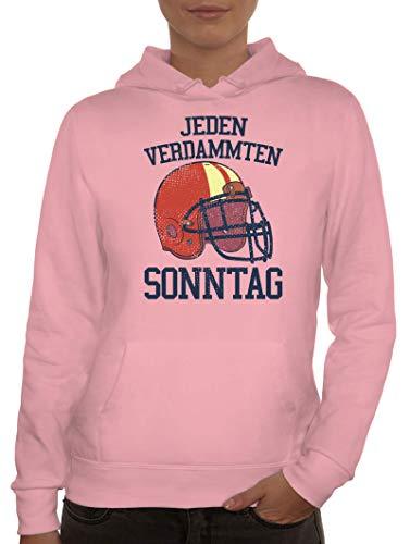 ShirtStreet American Football Gruppen Fan Damen Hoodie Frauen Kapuzenpullover Jeden Verdammten Sonntag 2, Größe: M,rosa