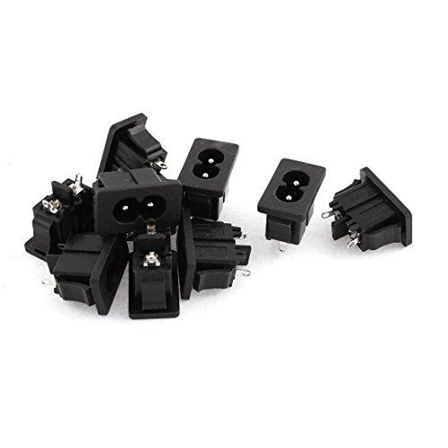 AC 250V 5A 2 Pin IEC 320 C8 Macho Enchufe Toma De Corriente Conector 10 Piezas