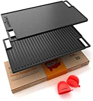 NutriChef Cast Iron Reversible Grill Plate - 18 Inch Flat Cast Iron Skillet Griddle Pan For Stove Top, Gas Ran