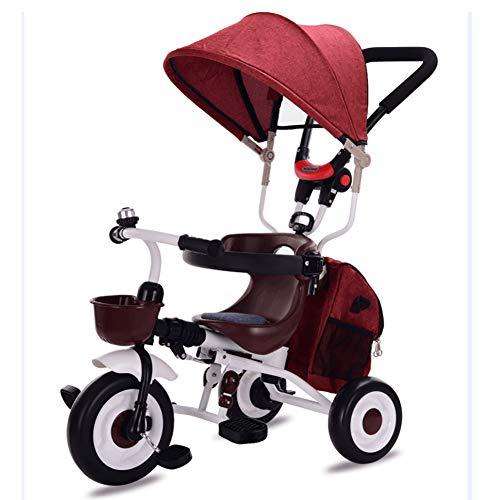 ZAY Dreiräder Rotes faltbares Dreirad, Kinderwagen mit Lenkergriff, Baldachin & Sicherheitsvorrichtung