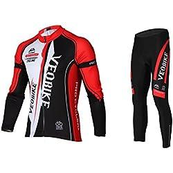 Asvert Conjunto Ciclismo Hombre Invierno 3D Cojín Ropa de Ciclismo Transpirable Malliot de Ciclista Elástica y Erconómica, Rojo
