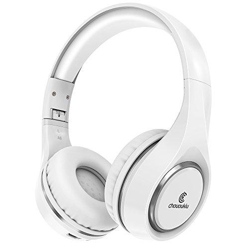 Bluetooth-Kopfhörer auf Ohr, Chououkiu Wireless Headset faltbar Hi-Fi Stereo-Kopfhörer mit Mikrofon In-Line-Lautstärke, kabelgebundene und kabellose Kopfhörer für Handy / TV / PC(Weiß)