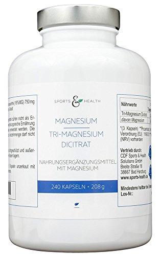 Magnesium Kapseln - 2250 mg hochwertiges Premium Tri-Magnesium Dicitrat davon 360 mg elementares Magnesium - 240 Magnesiumcitrat Kapseln - ohne Zusatzstoffe - ohne Füllstoffe - vegan - Made in Germany