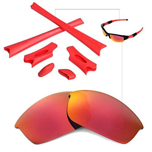 Walleva Ersatzgläser oder Linsen/Gummisatz für Oakley Flak Jacket Sonnenbrille - 26 Optionen (Feuerrot Nichtpolarisierte Linsen + Roter Gummi)