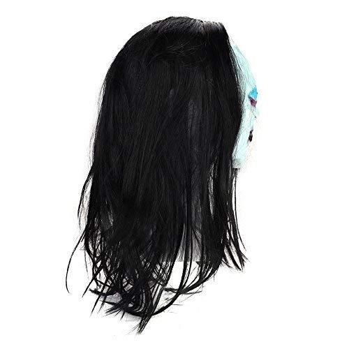 Halloween Maske Weiß mit Haaren horror Zombie Teufel Halloweenmaske Geist Hexe Monster unisex für Damen Herren Frauen Erwachsene Faschingsmaske Ganzkopf lustig für Halloween Karneval Carnival Cosplay