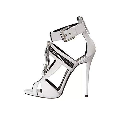 DUQI22 Damen Plateau Pumps Riemchen Stiletto High Heel Schuhe Party Bow Clubbing Heels Schuhe,White,37EU -