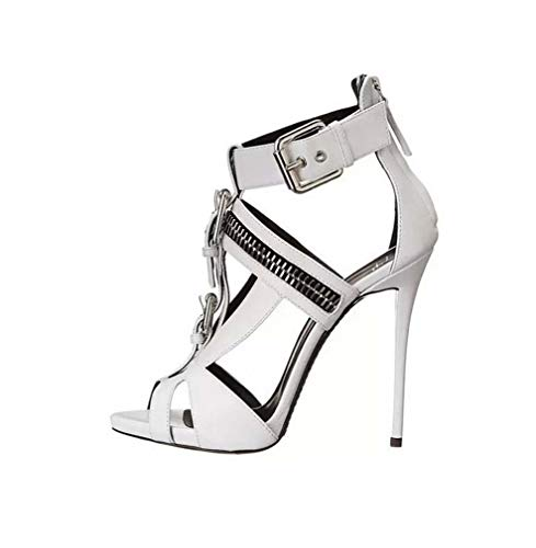 DUQI22 Damen Plateau Pumps Riemchen Stiletto High Heel Schuhe Party Bow Clubbing Heels Schuhe,White,37EU Bow Stiletto