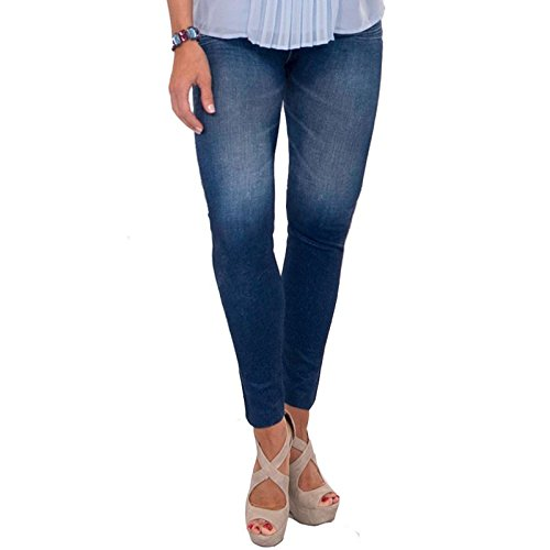 Thane Slim N Lift Caresse Jeans Skinny nahtlos hohe Taille Jeggings-Slimming Fit Bum Lifting Tummy Tuck Taille Kontrolle Denim Look Shaper Hose Gr. S/M , blau