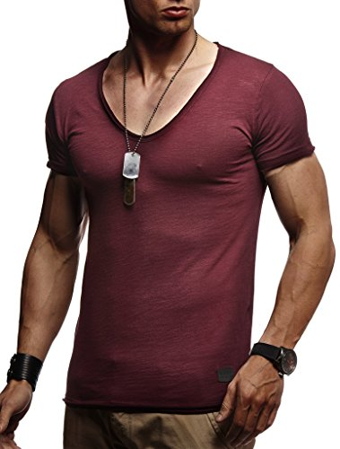LEIF NELSON Herren Oversize T-Shirt tiefer V-Ausschnitt Shirt Basic LN6280; Größe S, Bordeaux | 04251460503754