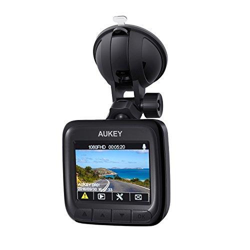AUKEY Dash Cam, Telecamera per Auto Full HD 1080P, Obiettivo Grandangolare di 170 Gradi, Visione Notturna, Rilevatore di Movimento, Registrazione in Loop, G-Sensor e 2,0