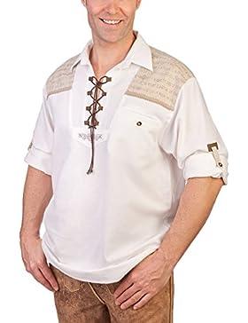 H1312 weiß - Schlupfhemd mit Krempelarmfunktion