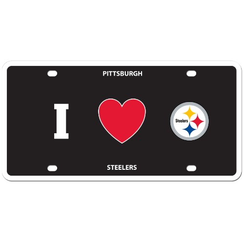 Plate License Pittsburgh Frame (NFL Pittsburgh Steelers Styrol/Höhe: Teller I Heart Stil)