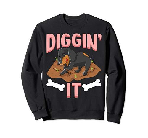 Funny Diggin' It Cute Dachshund Digging Bones Dog Owners Sweatshirt -