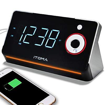 iTOMA Radio Réveil avec Radio FM numérique, Bluetooth, Double Alarme, réglage Automatique de l'heure, Port de Charge USB, entrée auxiliaire, Batterie de Secours par iTOMA