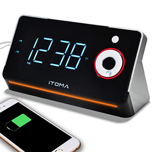 Radiowecker, iTOMA 6 in 1 Uhrenradio/Digital Wecker, Dual Alarm mit 2 USB-Ladeanschluss, FM Radiowecker mit Bluetooth, Dimmer, 12/24-Stunden, Nachtlicht, Backup mit Batterie bei Stromausfall (CKS709)
