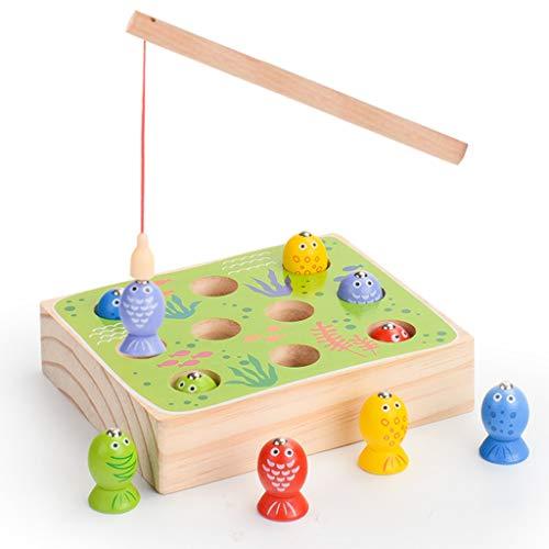F Fityle Magnet Angelspiel aus Holz Angeln Spielzeug Kinderspiel 1 Angelruten mit 10 Bunte Fische Lernspielzeug für Kinder