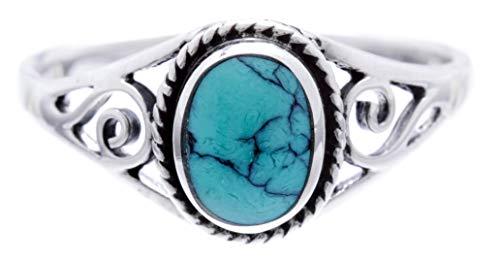 WINDALF Bohemia Silberring Damen LUCY h: 0.9 cm Elfen Ring mit Türkis Glücks- & Freundschaftsring Vintage Hochwertiges Silber (Silber, 54 (17.2))